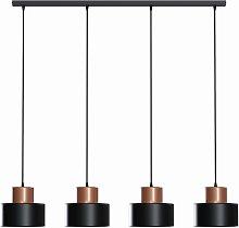Lámpara colgante Olla en negro/cobre, 4 luces