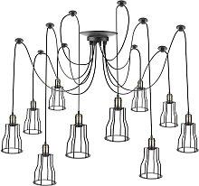 Lámpara con jaulas largas para 10 bombillas de