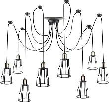 Lámpara con jaulas largas para 8 bombillas de