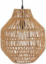 Lámpara con pantalla de cuerda de fibra vegetal