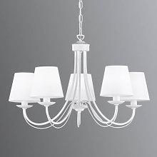 Lámpara de araña Cortez, blanco, 5 brazos
