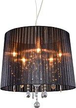 Lámpara de araña cromo negro 50cm 5-luces -