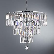 Lámpara de araña Empire con prismas de cristal