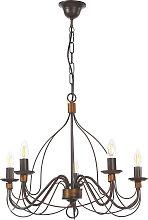 Lámpara de araña Fiamma Marrone 5 luces sin