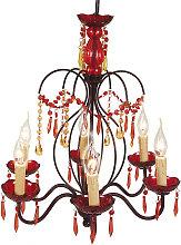 Lámpara de araña roja Dorota de acrílico