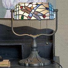 Lámpara de banquero Dragonfly de estilo Tiffany