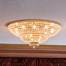 Lámpara de cristal dorado Sherata 18 luces.