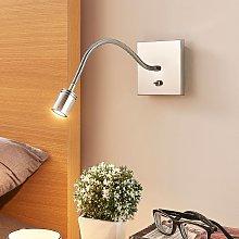 Lámpara de lectura Berfin de pared, cromada, LED