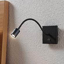 Lámpara de lectura LED Mayar, brazo flexible negro