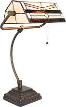 Lámpara de mesa 5193 en diseño Tiffany, crema
