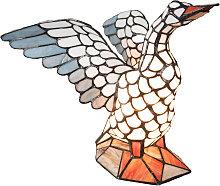 Lámpara de mesa 5928, forma ganso, estilo Tiffany