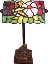 Lámpara de mesa 6008, estilo Tiffany, pájaro