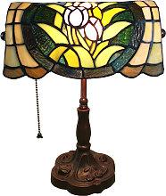 Lámpara de mesa 6013, flores, look Tiffany