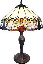 Lámpara de mesa 6021 colores, pantalla Tiffany
