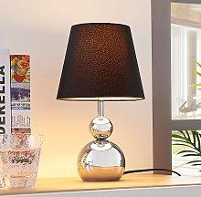 Lámpara de mesa Andor textil cromada, negra