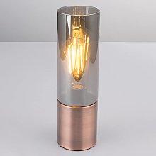 Lámpara de mesa Annika, cobre-gris humo