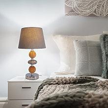 Lámpara de mesa Araga, gris/cromo/color madera