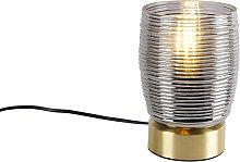 Lámpara de mesa Art Deco latón cristal ahumado -