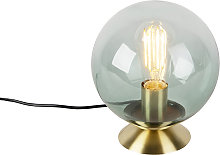 Lámpara de mesa Art Deco latón vidrio verde -