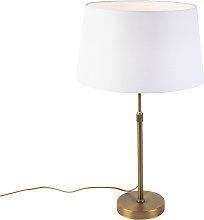 Lámpara de mesa bronce pantalla lino blanco 35cm