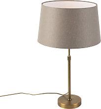 Lámpara de mesa bronce pantalla lino taupe 35cm -