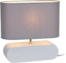 Lámpara de mesa Cassy, pie blanco tulipa tela gris