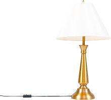 Lámpara de mesa clásica bronce pantalla crema -