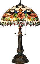 Lámpara de mesa colorida Maja, diseño Tiffany