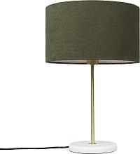 Lámpara de mesa de latón con pantalla verde 35