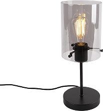 Lámpara de mesa diseño negra cristal ahumado