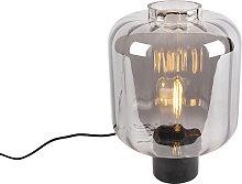Lámpara de mesa diseño negra cristal ahumado -