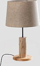 Lámpara de Mesa en Lino y Madera Ulga Madera