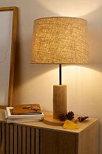 Lámpara de Mesa en Lino y Madera Ulga Natural