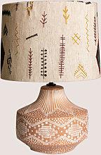 Lámpara de Mesa en Tela y Madera Agra Multicolor
