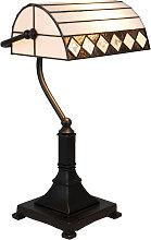 Lámpara de mesa estilo Tiffany 5196, blanco-negro