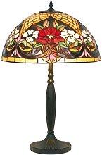 Lámpara de mesa estilo Tiffany, motivos florales