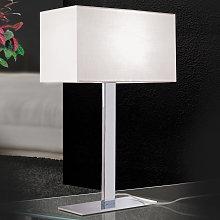 Lámpara de mesa Grigor con pantalla de lino blanco