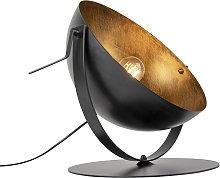 Lámpara de mesa industrial negra/oro ajustable -