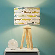 Lámpara de mesa infantil Kroko multicolor, madera