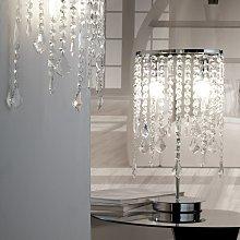 Lámpara de mesa Laila, cortina de cristal, 2 luces