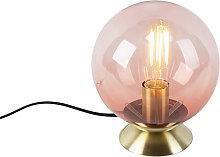 Lámpara de mesa latón con vidrio rosa - PALLON