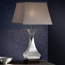 Lámpara de mesa LED plateada Deco, pata giratoria