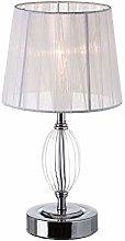 Lámpara de mesa metal-cristal blanco 17,50 x