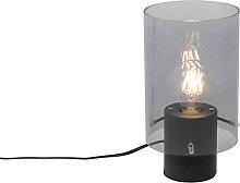 Lámpara de mesa moderna negra cristal ahumado -