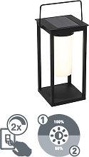 Lámpara de mesa moderna negra regulador solar LED