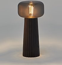 Lámpara de mesa negra y cristal cromo FARO E27