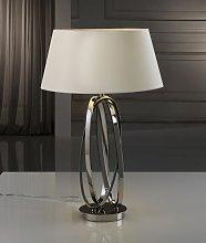 Lámpara de mesa níquel pulido y tulipa color