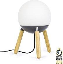 Lámpara de mesa original gris y madera MINE