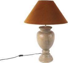 Lámpara de mesa rústica madera terciopelo