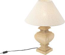 Lámpara de mesa rústica pantalla de lino beige
